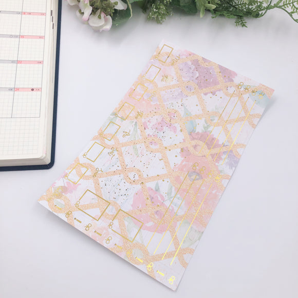 Hobonichi Weeks - Monthly Kits - Gold Florals (Gold Foiled)
