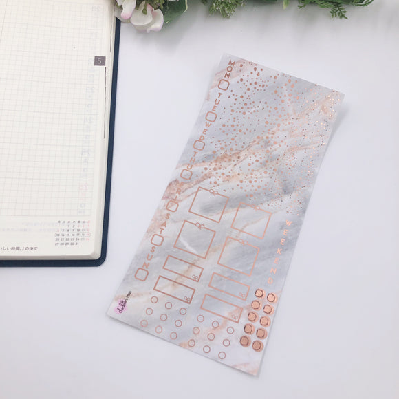 Hobonichi Weeks - Weekly Kits - Grey Marble (Rose Gold Foiled)