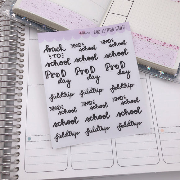 Planner Midi - Hand Lettered Scripts - School