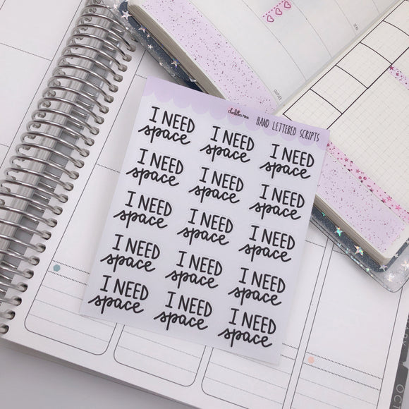 Planner Midi - Hand Lettered Scripts - I Need Space