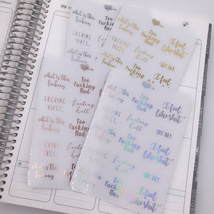 Planner Midis - Clear Foiled Sassy Swear Stickers Pt 3