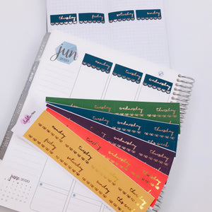 Foiled Stickers - Date Covers - Scallop and Bows - Fall Colours