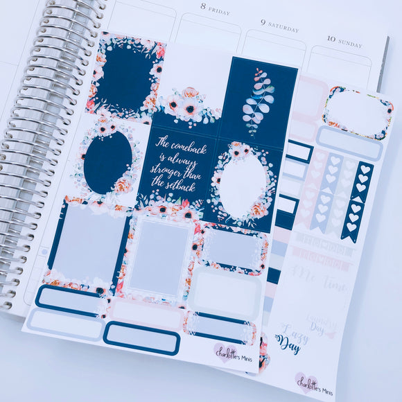 Planner Mini kits - Navy Florals