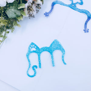 Planner Accessories - Resin Planner Comb - Blue Holo Cat