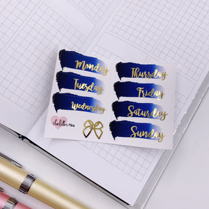 Foiled Stickers - Date Covers - Ombre Navy (Gold Foil)