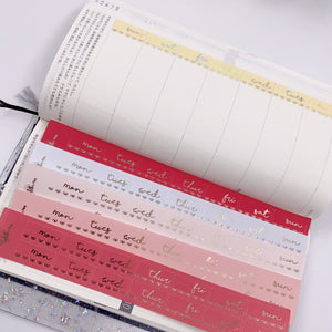 Foiled Stickers - Hobonichi Date Covers - Scallop and Bows - Cherry Blossom