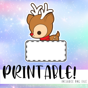 Reindeer Banner - Printable Stickers