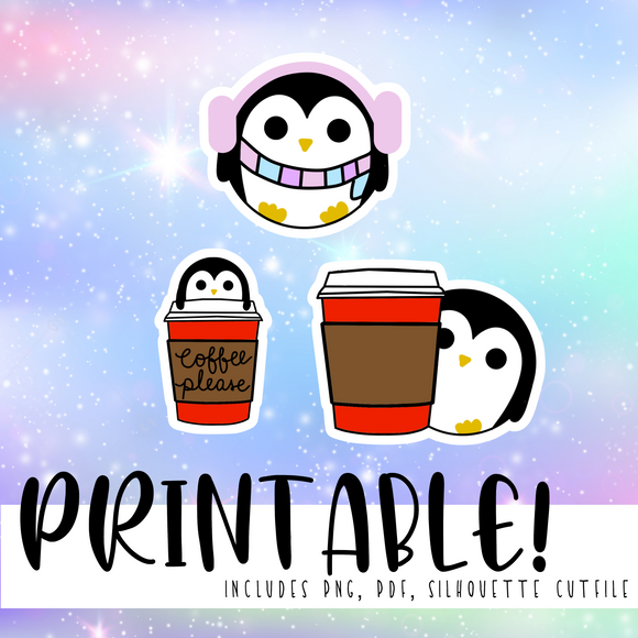 Winter Penbble Diecuts - Printable Stickers