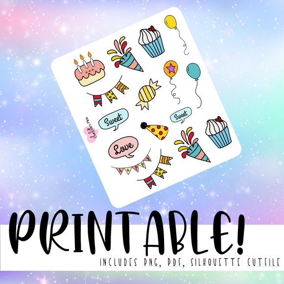 Celebrate Deco Stickers - Printable Stickers