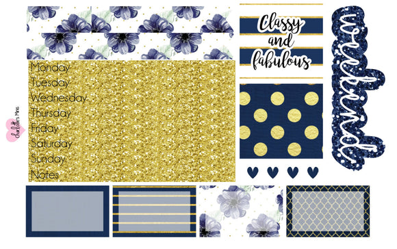 Planner Mini kits  - Happy Planner Mini Kit - Navy and Gold