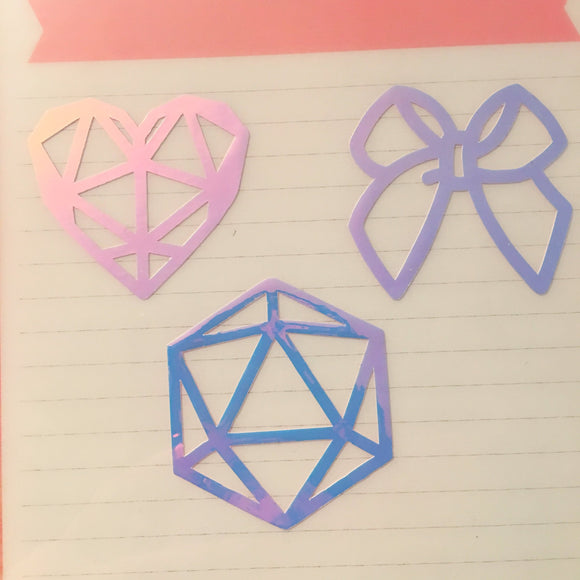 Iridescent Decals (Bow, Geometric Heart, Icosahedron)