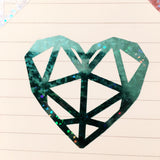 Holographic Geometric Heart Decal (Pink,Blue,Silver)