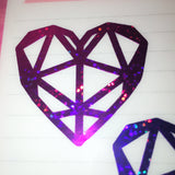 Holographic Geometric Heart Decal (Purple Galaxy Series)