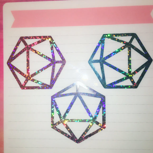 Holographic Icosahedron Heart Decal (Pink,Blue,Silver)