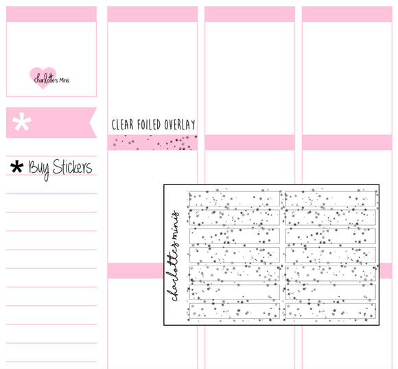 Planner Midis - Clear Foiled Small Galaxy Header Overlay Stickers
