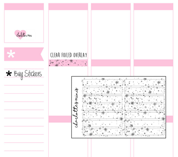 Planner Midis - Clear Foiled Big Galaxy Bow Header Overlay Stickers