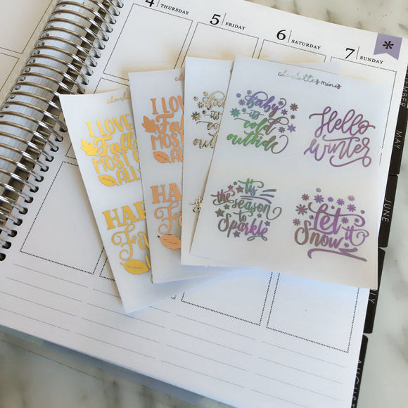 Planner Midis - Clear Foiled Full box Overlay Stickers (Winter)