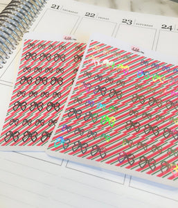Planner Midis - Foiled Washi Strips (Candy Cane, Holo/Silver Foil)