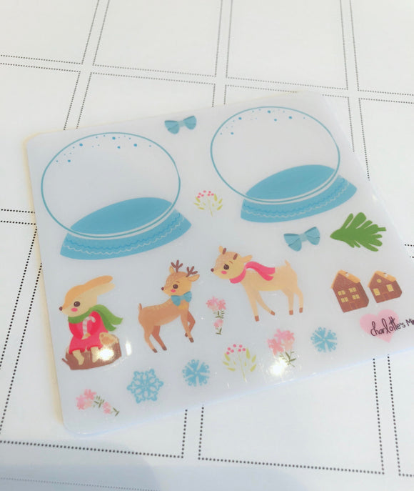 Planner Minis - Clear Build Your Own Snowglobe Deco Stickers