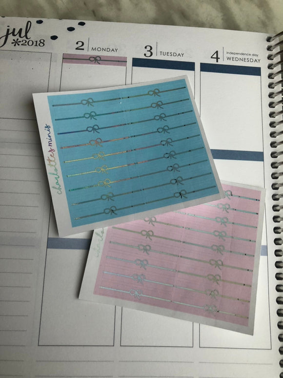 Planner Midi -Foiled Bow Headers Basic Colours(Light Blue,Pink Holo Foil)