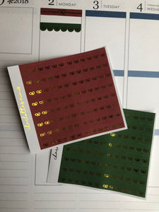 Planner Midis - Foiled Scallop Bow Headers Christmas (Red and Green, Gold Foil)