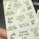 Planner Midis - Clear Foiled Sassy Swear Stickers