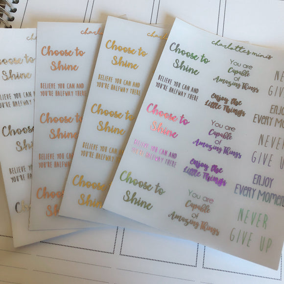 Planner Midis - Clear Foiled Inspirational Stickers (Part 2)