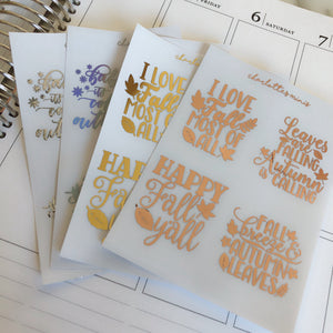 Planner Midis - Clear Foiled Full box Overlay Stickers (Fall)