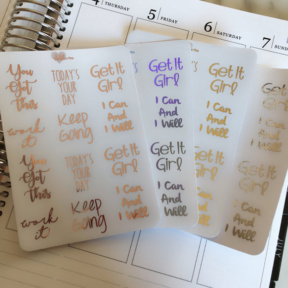 Planner Midis - Clear Foiled Inspirational Stickers