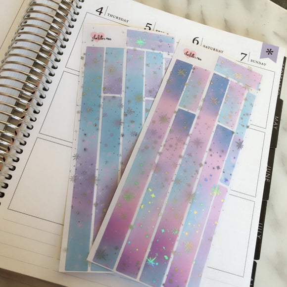 Planner Mini kits-HOLO Foiled Galaxy Washi Strips