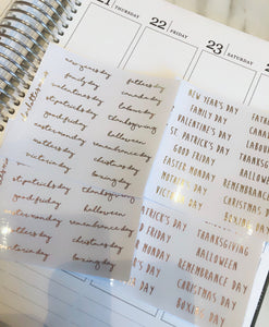 Planner Midis - Clear Canadian Holiday Stickers