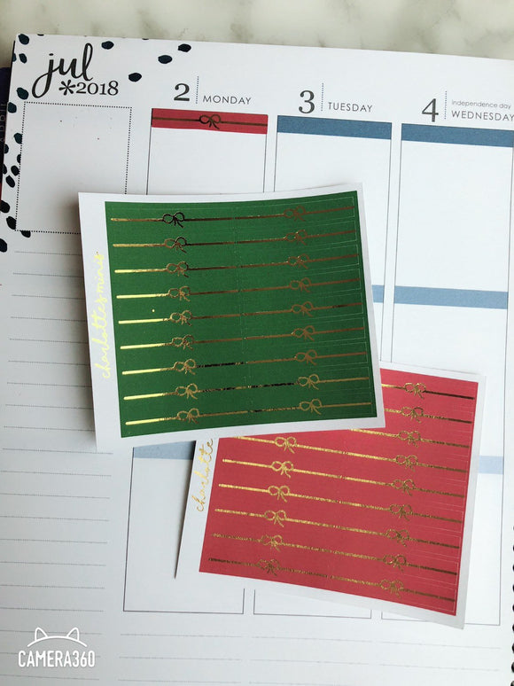 Planner Midi -Foiled Bow Headers Christmas (Red and Green, Gold Foil)