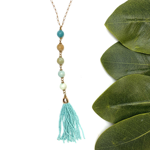 Amazonite + Seed Bead Necklace