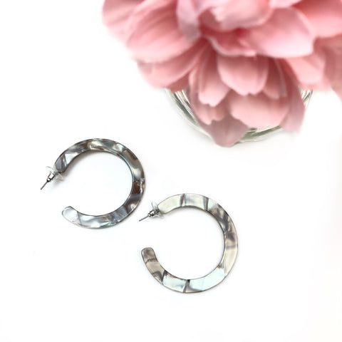 Flat Marble Acrylic Earrings