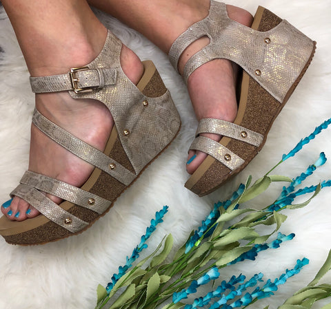 Stacey Snakeskin Wedges