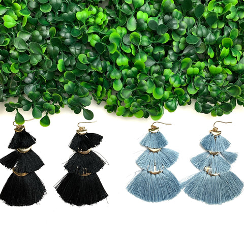 Stacked & Fan Tassel Earrings