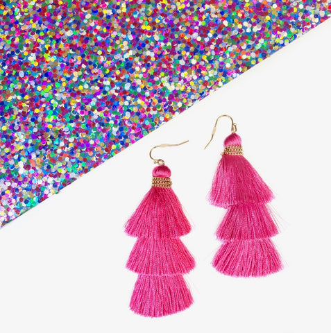 Stacked And Tassel Earring