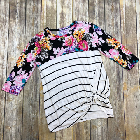 Stacey Striped Floral Mix Top
