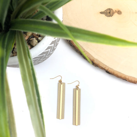 Gold Bar/Leather Earrings