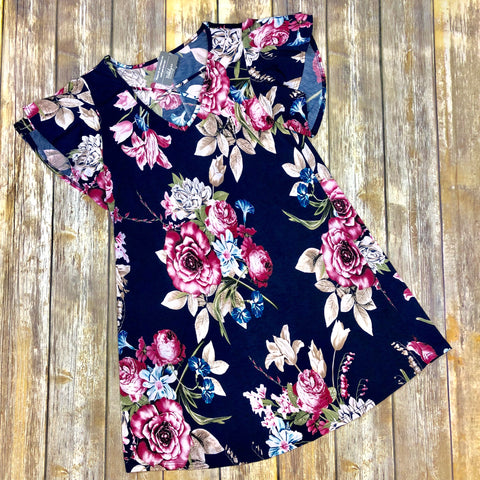 Nicole Navy Floral Dress