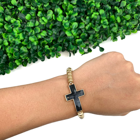 Black Marbled Cross Bracelet