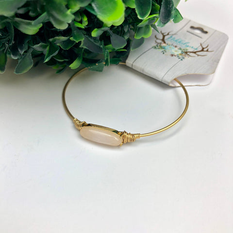 Dainty Gold Bracelet with Oval Stone