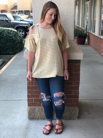 Stripe Crazy Cold Shoulder Top