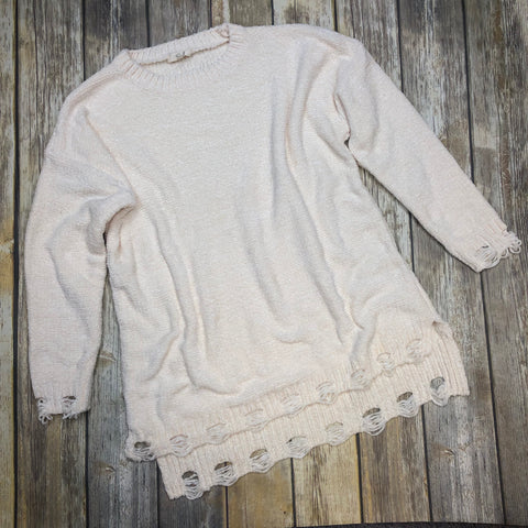 Distressed Dip Me Into Fall Sweater