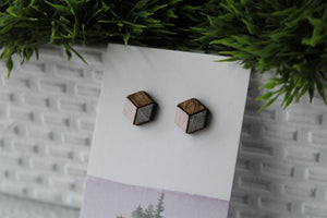 Wood Earrings Pink/Metallic Dark Grey