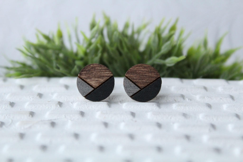 Wood Metallic Grey/Black Earrings