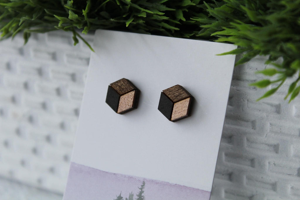 Wood Grey/Rose Gold Earrings