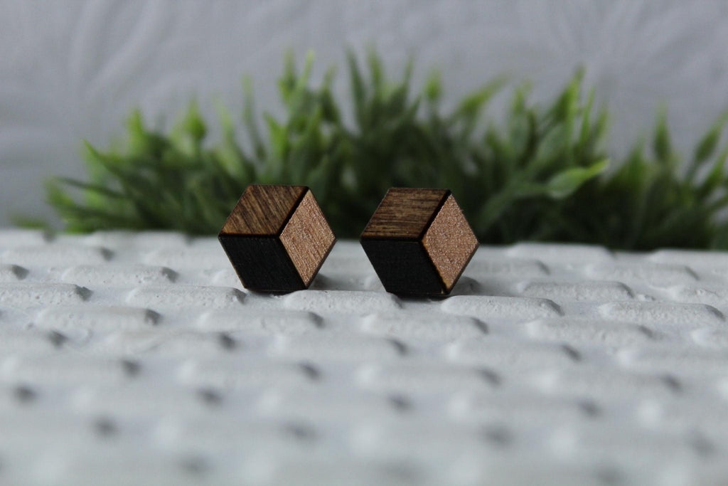 Wood Black/Rose Gold Earrings