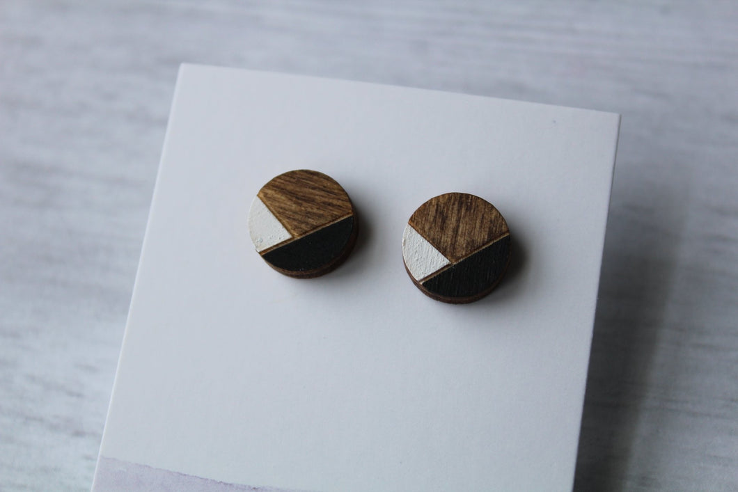 Geometric Wood Earrings • Black/White