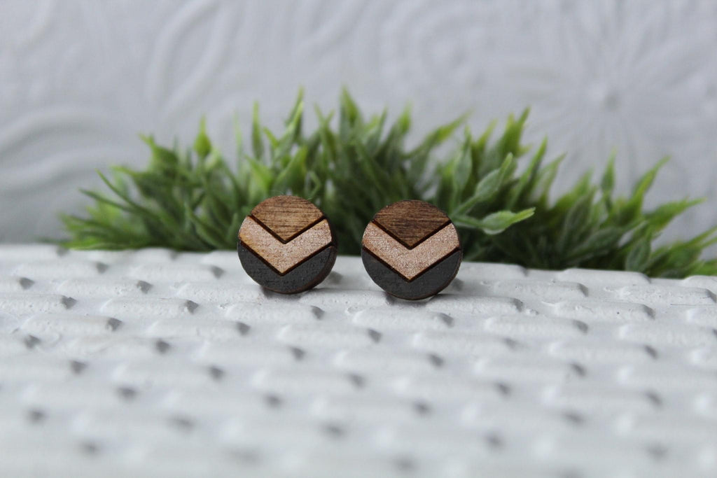 Chevron Wood Grey/Rose Gold Earrings